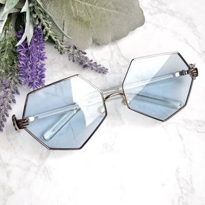Accessories - Fashion Oversized Sunglasses Pearls Nose Pads